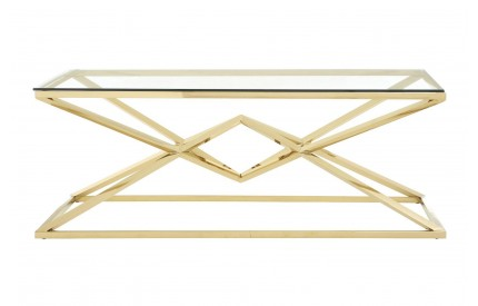 Allure Coffee Table Clear Glass Champagne Gold Stainless Steel