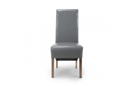 Krista Roll Back Bonded Leather Grey Dining Chair