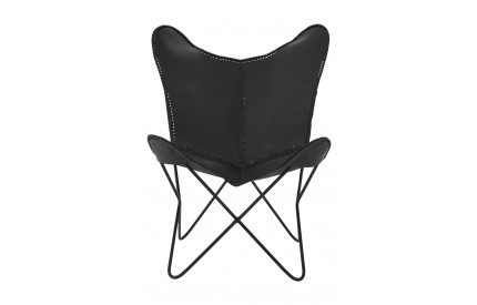 Bullworth Butterfly Chair Black Bullworth Leather Iron Frame