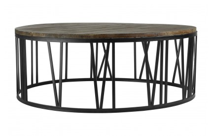 Greenwich Coffee Table Round Fir Wood / Black Metal