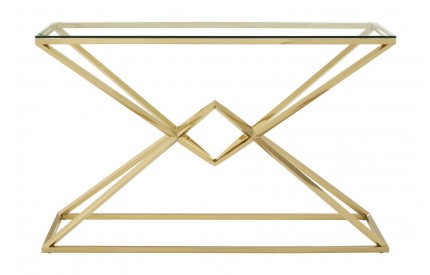 Premium Console Table Clear Glass Champagne Gold Stainless Steel