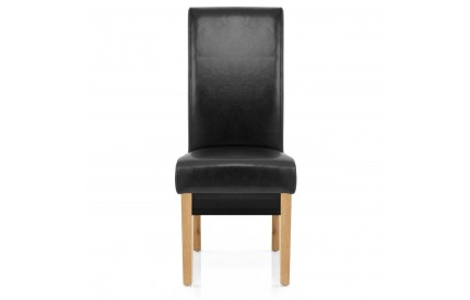 Leather Dining Chair Solid Oak Legs