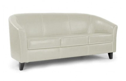 3 Seater Tub Sofa Cream Leather