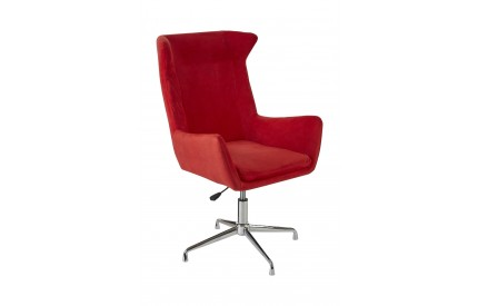 Colonial Chair Red Microfibre Revolving Chrome Finish Base