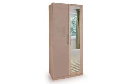 TIno High Gloss Beige 2 Door Mirror Wardrobe
