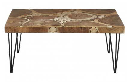 India Coffee Table Acacia Wood Iron