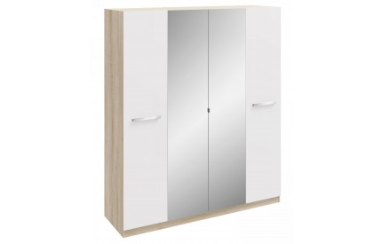 Momo 4 Door Mirrored Wardrobe White