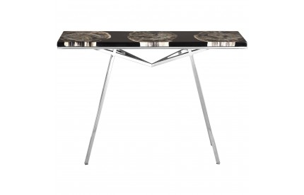Newcity Console Table Petrified Wood Black Resin / Stainless Steel
