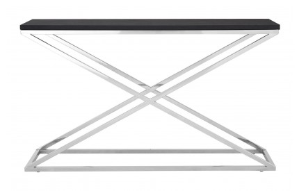 Tribute Console Table Stainless Steel Criss Cross Frame MDF Top W/Black Leather Effect