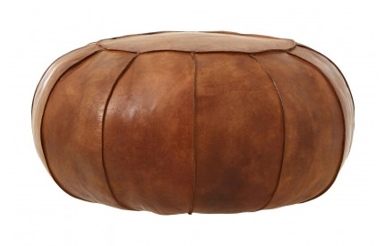 Bullworth Pouffe Brown Leather