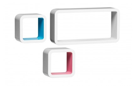 Wall Cubes Set of 3 White/Pink/Blue
