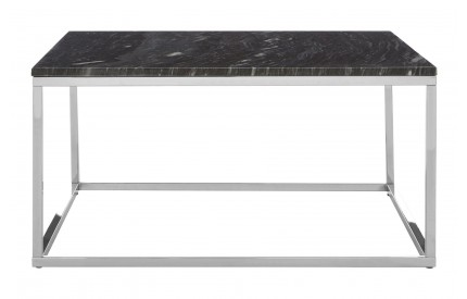 Premium Square Coffee Table Black Marble Chrome Stainless Steel