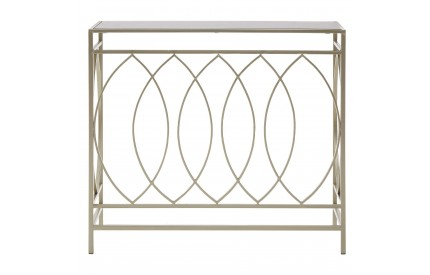 Advent Console Table Champagne Metal Mirror Top