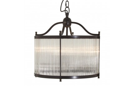 Buckingham Townhouse Pendant Iron / Glass Light Antique Black / Gold Finish