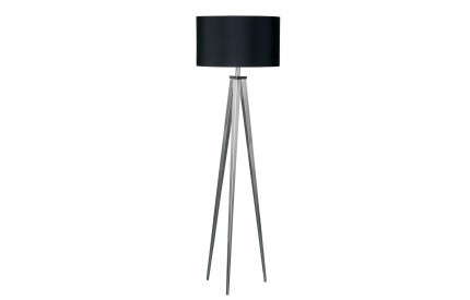 Tripod Floor Lamp Satin Nickel Black Shade