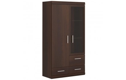 Imperial 2 Door 3 Drawer Glazed Display Cabinet Mahogany