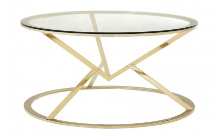 Premium Round Coffee Table Clear Glass Champagne Gold Stainless Steel