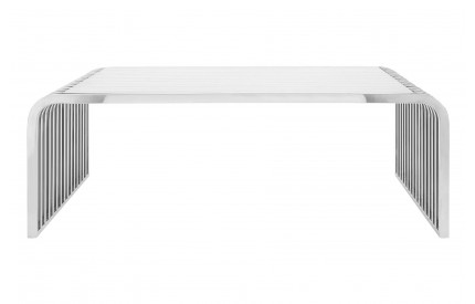 Pose Slatted Coffee Table Clear Glass Stainless Steel