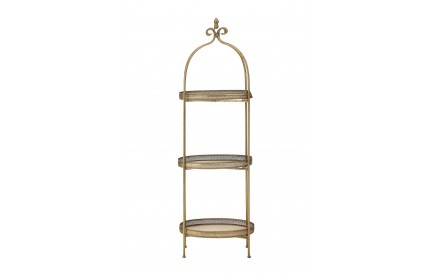 Hillmount Ornate Tray Shelves Gold Finish 3 Tiers
