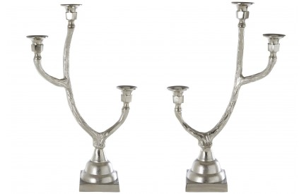 Reno Candle Holders Nickel Finish Set of 2