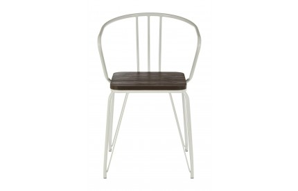District Arm Chair White Metal and Elm Wood