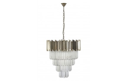 Lustra Chandelier Silver Finish Iron Clear Glass