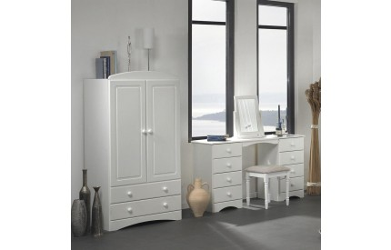 Scandi 2 Door 2 Drawer Combi Wardrobe in White