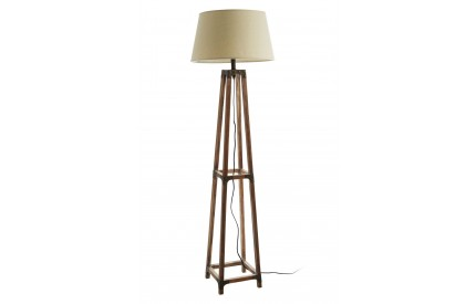 Floor Lamp Fir Wood/Metal Natural Shade