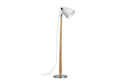 Greece Floor Lamp Satin Nickel / Light Wood White Shade / UK Plug