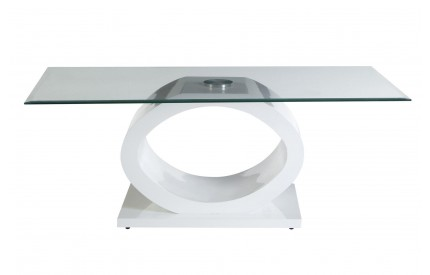 Grate Coffee Table Tempered Glass O Shaped MDF White Base