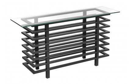 Monaco Console Table Clear Tempered Glass Black Powder Coated Metal Frame