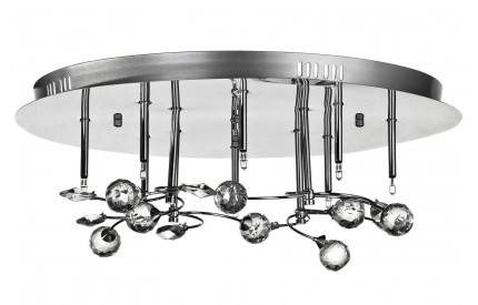 Ceiling Light 8 Light Stainless Steel and Crystal