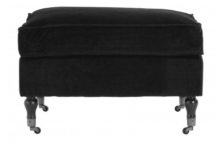 Plush Footstool Black Cotton Velvet Birchwood Legs With Wheels