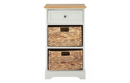 Alps Grey Cabinet 1 Wood / 2 Basket Drawers MDF / Paulownia Wood