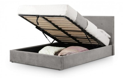 Shoreditch Lift-Up Grey Velvet Fabric Storage Bed