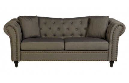Fargo Chesterfield Sofa Grey Fabric / 3 Seat Stud Detail
