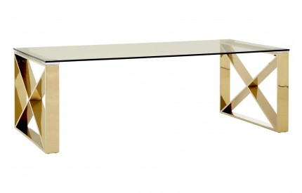 Premium Coffee Table Clear Glass Champagne Gold Legs
