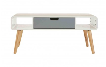 Milo Coffee Table 1 Drawer / 2 Shelves Grey / White