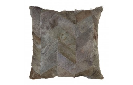 Lauren Cushion Cover Genuine Cowhide Leather Light Grey Patchwork