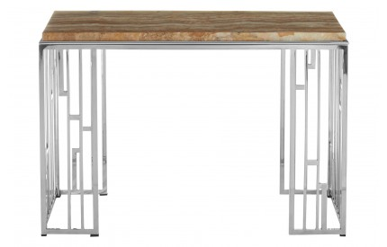 Newcity Console Table Onyx Stone Stainless Steel Base