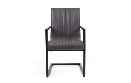 Archer Cantilever Leather Match Grey Carver Chair
