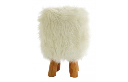 White Fur Round Foot Stool
