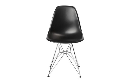 Eames DSR Plastic Chair Black Steel Chrome Legs (4s)