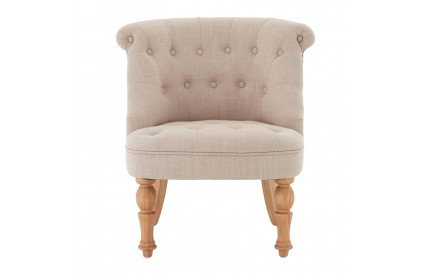 Belgravia Tuft Chair Natural Linen Mix Tropical Hevea Wood Legs
