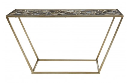 Vita Console Black Agate Top Gold Finish Frame