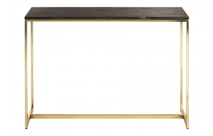 Newcity Console Table Dark Petrified Wood Powder Coated Brass Iron