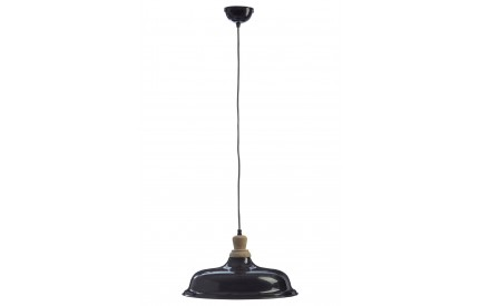Norway Small Pendant Light Iron / Wood Black