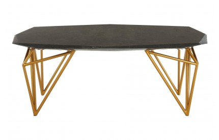 Relic Coffee Table Black Marble Powder Coated Gold Finish Iron