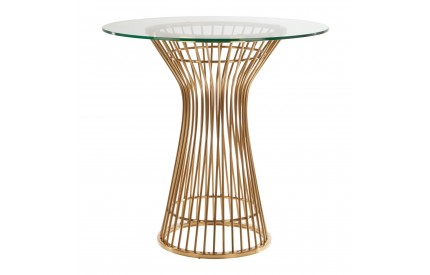 Pose Round Dining Table Gold Finish Central Leg Clear Glass