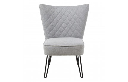 Stockholm Wing Chair Grey Fabric Black Metal Legs